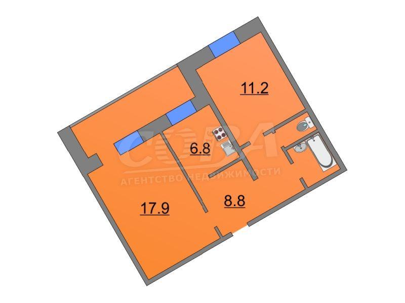 2 комнатная квартира  в 5 микрорайоне, ул. Широтная, 61А, г. Тюмень