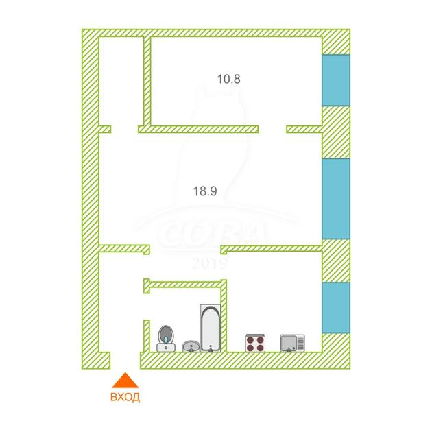 2 комнатная квартира  в районе Дома печати, ул. Советская, 124, г. Тюмень