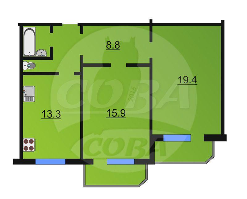 2 комнатная квартира  в районе Московского тр., ул. Московский тракт, 145, г. Тюмень