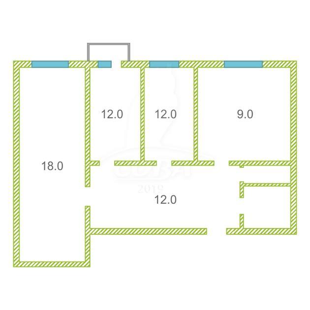 3 комнатная квартира  в Восточном мкрн., ул. Моторостроителей, 7, г. Тюмень