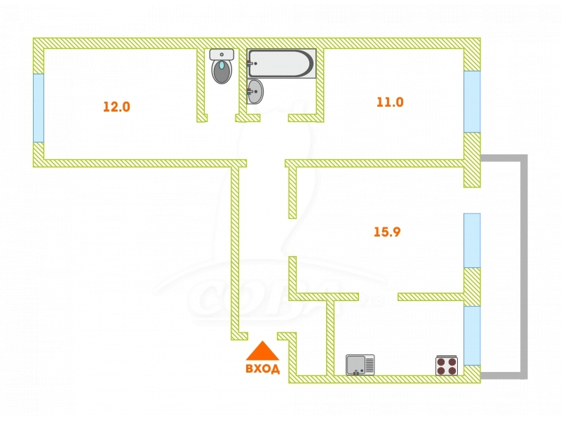 3 комнатная квартира  в 1 микрорайоне, ул. Монтажников, 16, г. Тюмень
