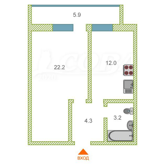 1 комнатная квартира  в районе Дом Обороны, ул. Таврическая, 9Б, г. Тюмень
