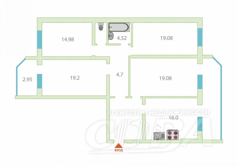 4 комнатная квартира  в 6 микрорайоне, ул. Валерии Гнаровской, 4, г. Тюмень