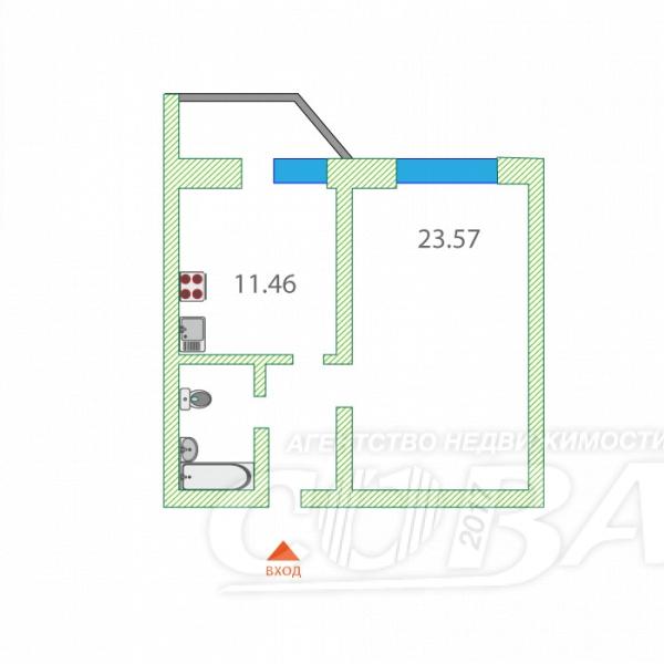 1 комнатная квартира  в районе Тюменская слобода, ул. Обдорская, 5, Микрорайон «Ямальский-2», г. Тюмень