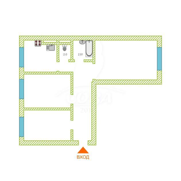3 комнатная квартира  в Тюменском-2 мкрн., ул. Михаила Сперанского, 19, ЖК «Ямальский-1», г. Тюмень