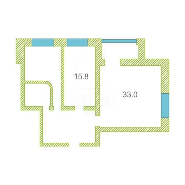 2 комнатная квартира  в районе 25-й микрорайон, ул. Комсомольский Проспект, 13, г. Сургут