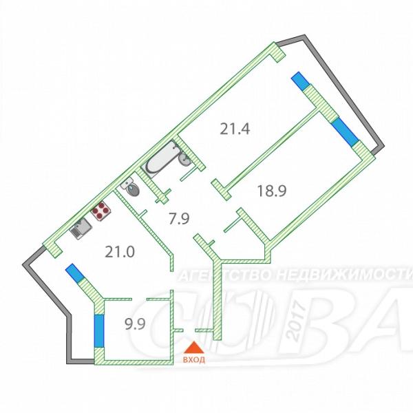 3 комнатная квартира  в районе Ватутина, ул. Ветеранов Труда, 7, г. Тюмень
