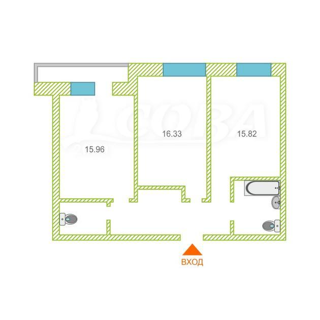 2 комнатная квартира  в новом доме,  в районе Дом Обороны, Жилой комплекс «Олимпия», г. Тюмень