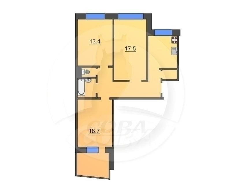 3 комнатная квартира  в районе Калинина, ул. Интернациональная, 35, г. Тюмень