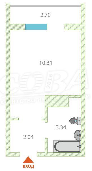 1 комнатная квартира  в районе Плеханово, ул. Интернациональная, 199/4, ЖК «Москва», г. Тюмень