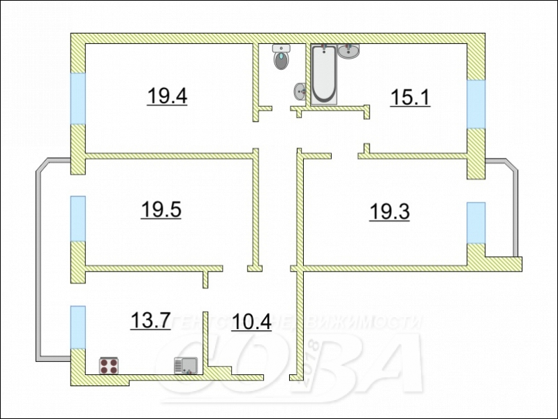 3 комнатная квартира  в 6 микрорайоне, ул. проезд 9 Мая, 7, г. Тюмень