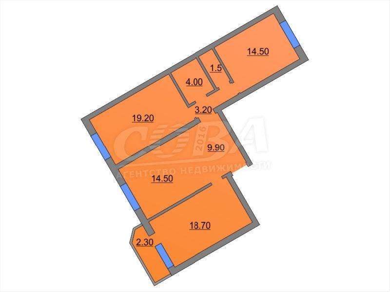 3 комнатная квартира  в Тюменском-4 мкрн., ул. Бориса Опрокиднева, 12, г. Тюмень