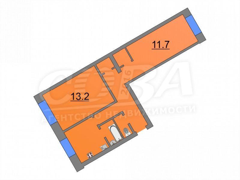 2 комнатная квартира  в районе пос. Утешево, ул. Школьная, 14, г. Тюмень
