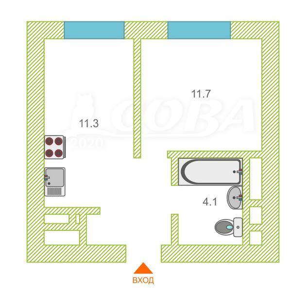 1 комнатная квартира  в новом доме,  в районе Воровского, ЖК «Республика», г. Тюмень