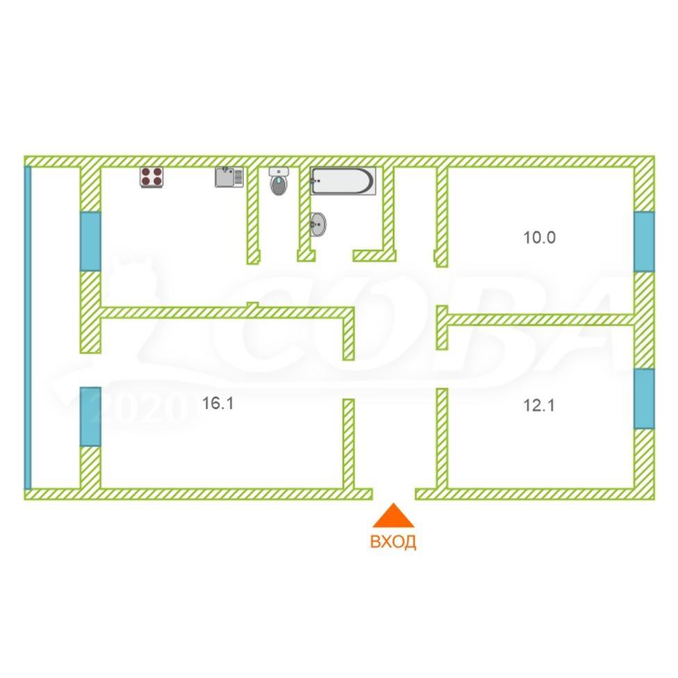 3 комнатная квартира  в районе ЖД вокзал, ул. Привокзальная, 10, г. Сургут