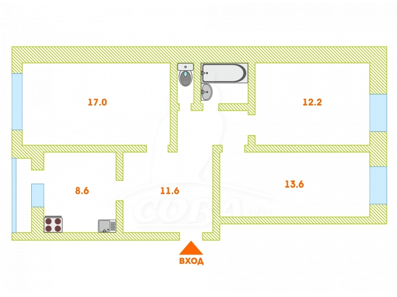 3 комнатная квартира  в районе Центральная часть, ул. Энергетиков, 1, п. Богандинский