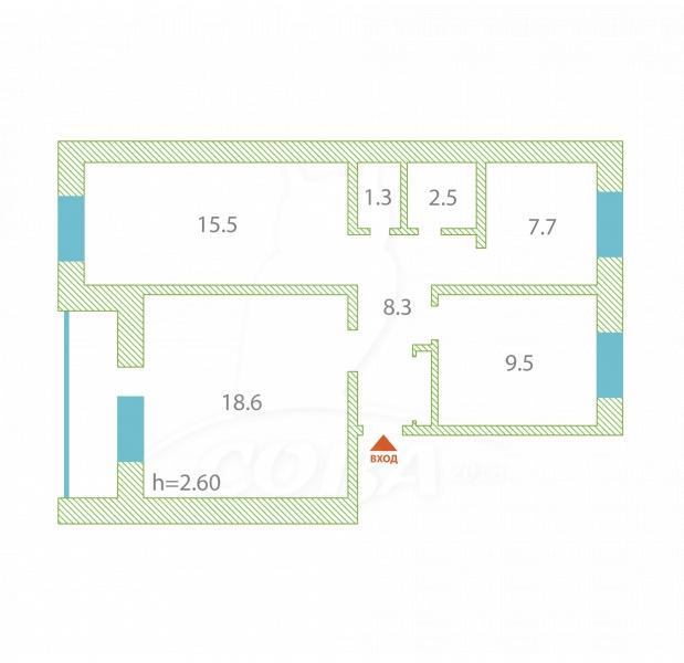 3 комнатная квартира , ул. Янтимирова, 13, с. Исетское