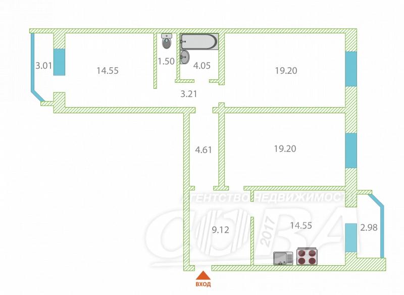 3 комнатная квартира  в районе Плеханово, ул. Кремлевская, 110/2, ЖК «Плеханово», г. Тюмень