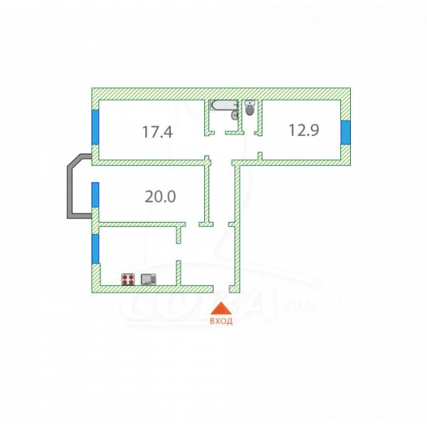 3 комнатная квартира  в районе Лесобаза (Тура), ул. Домостроителей, 26, г. Тюмень