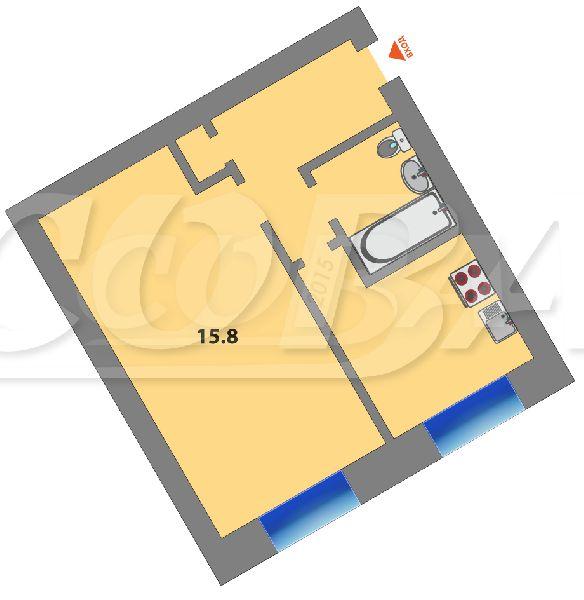 1 комнатная квартира  в районе Червишевского тр., ул. Червишевский тракт, 60, г. Тюмень