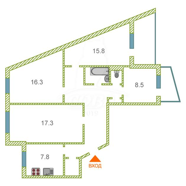 4 комнатная квартира  в Южном микрорайоне, ул. Самарцева, 20, г. Тюмень