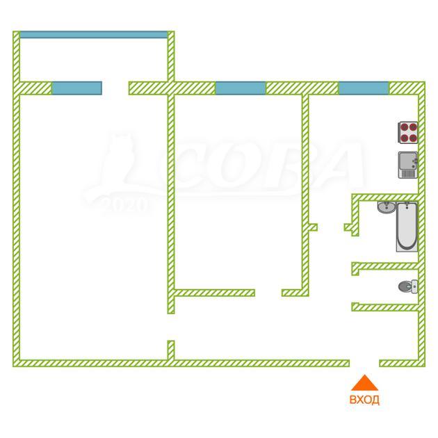 2 комнатная квартира  в районе Нагорный Тобольск, ул. Рощинский переулок, 60, г. Тобольск