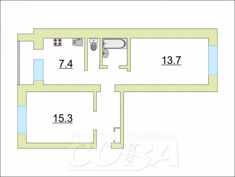 2 комнатная квартира  в районе Парфенова, ул. Тимуровцев, 30, г. Тюмень