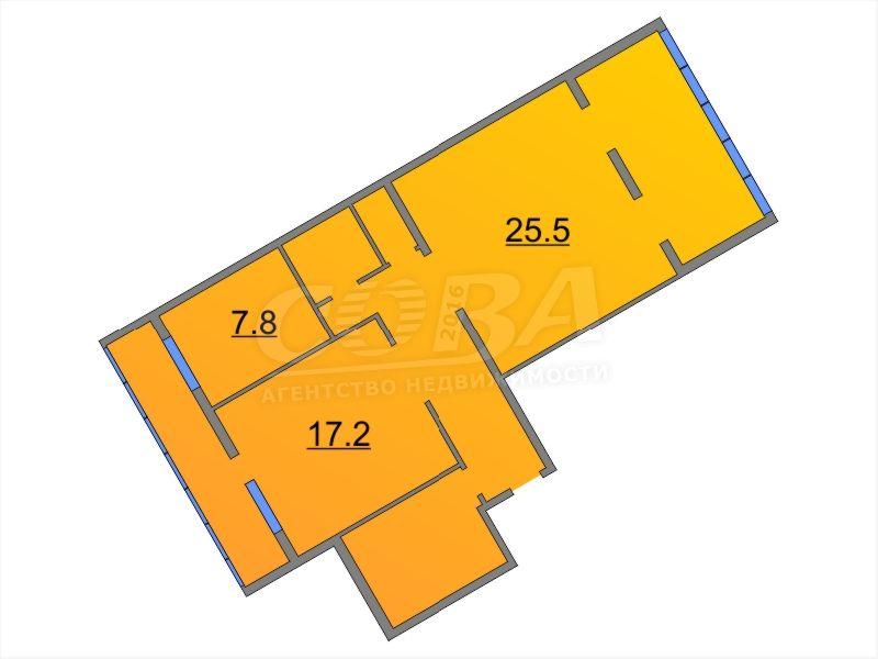 3 комнатная квартира  в районе ул.Малыгина, ул. Александра Матросова, 1, г. Тюмень