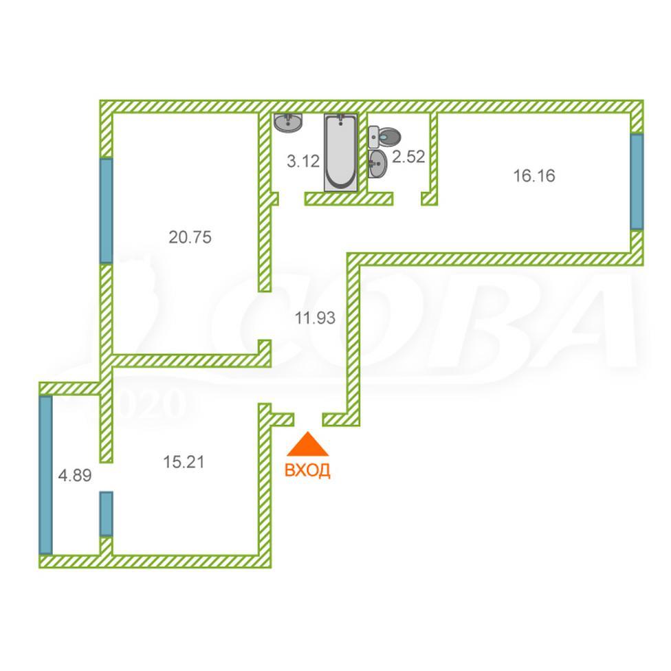 2 комнатная квартира  в районе Войновка, ул. Широтная, 217, ЖК «Квартет», г. Тюмень