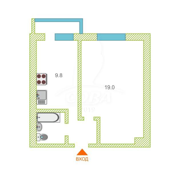 1 комнатная квартира  в районе Драмтеатра, ул. Республики, 131, г. Тюмень