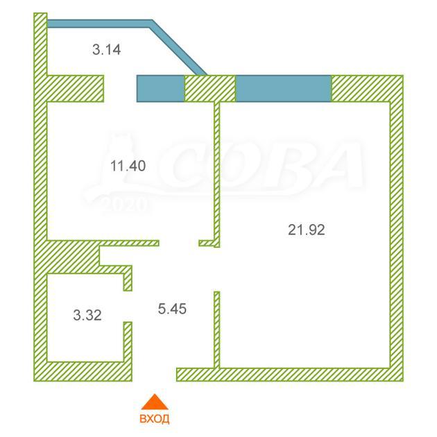 1 комнатная квартира  в районе Нагорный Тобольск, ул. 15-й микрорайон, 23, г. Тобольск