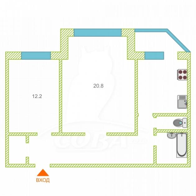 2 комнатная квартира  в районе 25-й микрорайон, ул. Мелик-Карамова, 25, г. Сургут