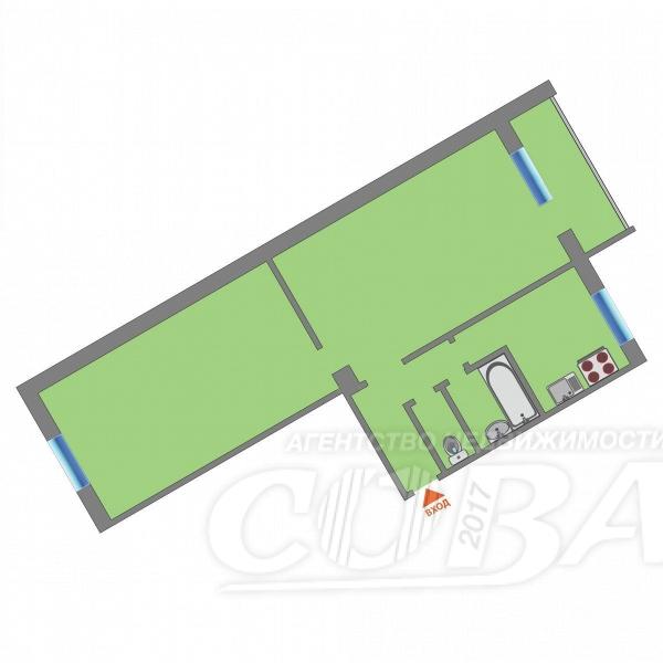 2 комнатная квартира  на КПД в районе 50 лет Октября, ул. Энергетиков, 51А, г. Тюмень