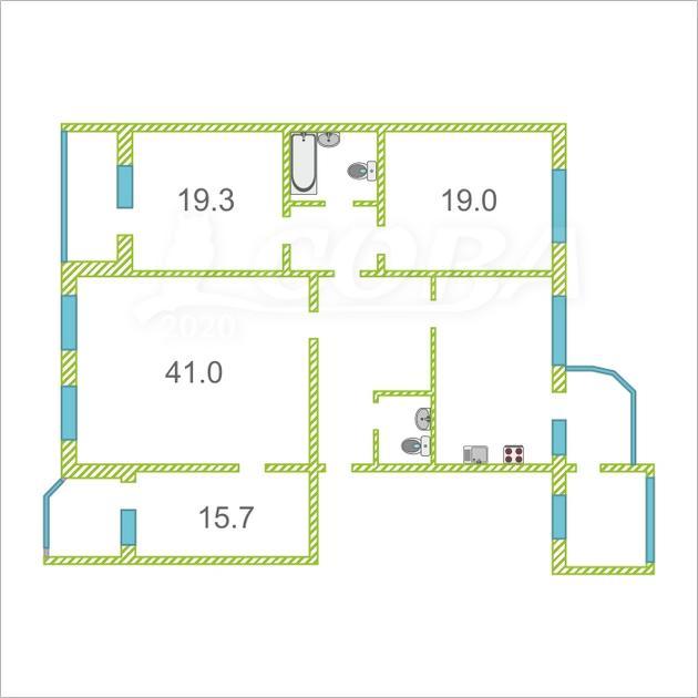 4 комнатная квартира  в районе Дома печати, ул. Свердлова, 1, г. Тюмень