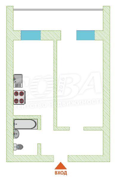 1 комнатная квартира  в районе Червишевского тр., ул. Самарцева, г. Тюмень