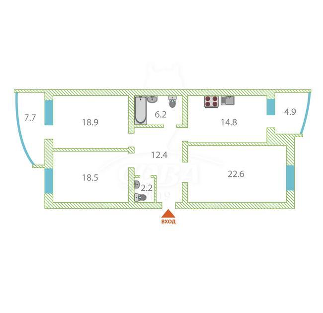 3 комнатная квартира  в историческом центре, ул. Орджоникидзе, 11, г. Тюмень