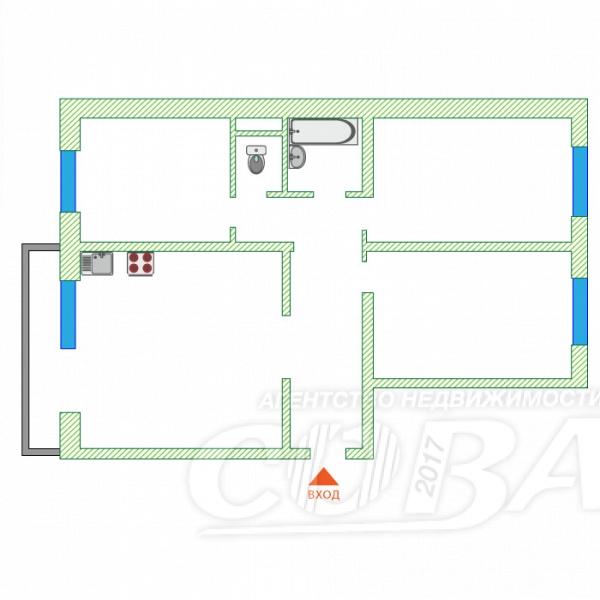 3 комнатная квартира  в районе Нагорный Тобольск, ул. 8-й микрорайон, 16, г. Тобольск