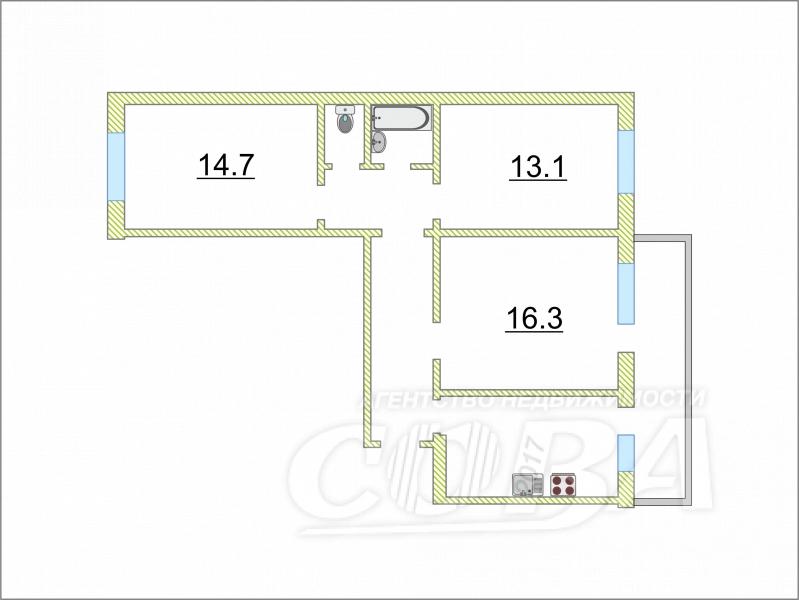 3 комнатная квартира  в районе Воронино, ул. Февральский проезд, 2, г. Тюмень
