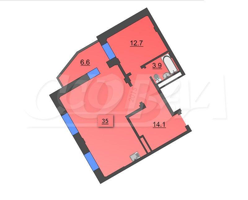 2 комнатная квартира  в районе Южный 2/ Чаплина, ул. Депутатская, 112, Жилой комплекс «Близнецы», г. Тюмень