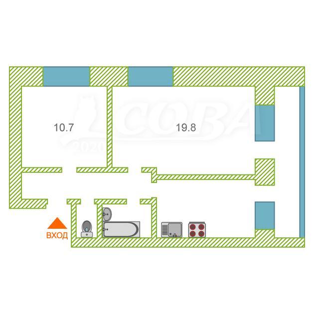 2 комнатная квартира  в районе пос. Утешево, ул. Анатолия Замкова, 4, г. Тюмень