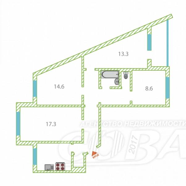 4 комнатная квартира  в 6 микрорайоне, ул. Мельникайте, 135, г. Тюмень