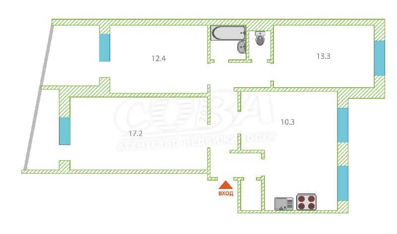 4 комнатная квартира  в районе Московского тр., ул. Новосибирская, 119, г. Тюмень
