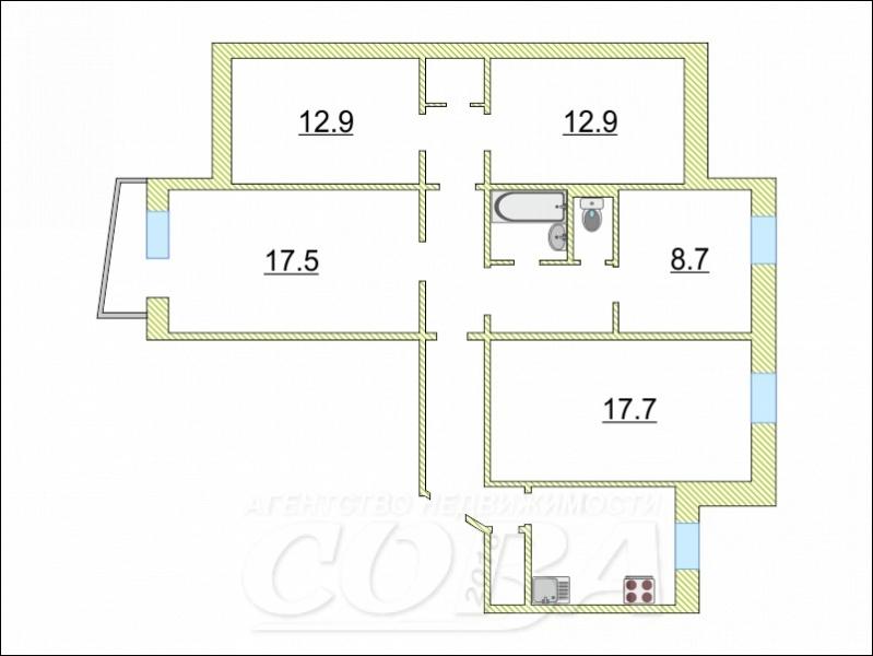 Многокомнатн. квартира  в 6 микрорайоне, ул. Мельникайте, 127А, г. Тюмень