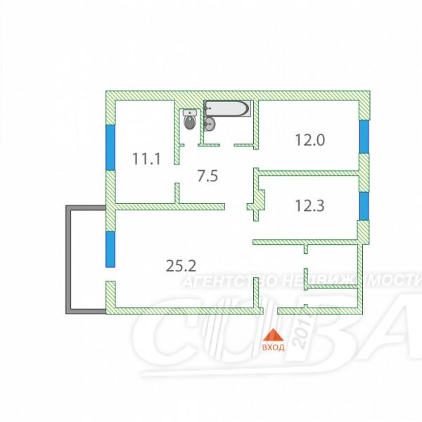 3 комнатная квартира  в Заречном 3 мкрн., ул. Солнечный проезд, 22, г. Тюмень