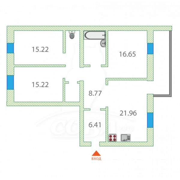 3 комнатная квартира  в Тюменском-2 мкрн., ул. Прокопия Артамонова, 3, Жилой дом ГП-6, г. Тюмень