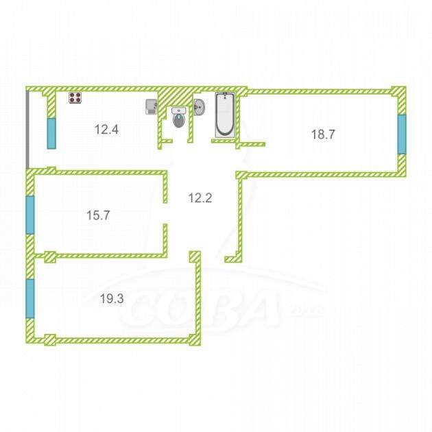 3 комнатная квартира  в районе Эсто-Садок, ул. Эстонская, 37, г. Сочи