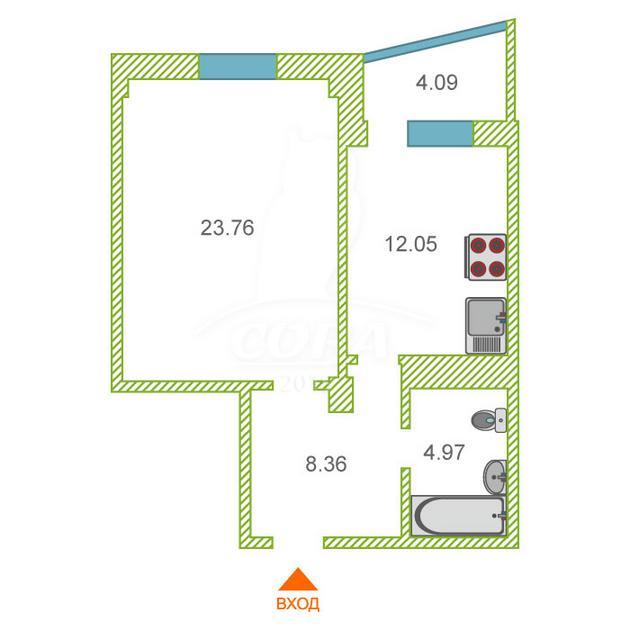1 комнатная квартира  в Заречном 3 мкрн., ул. Заречный проезд, 39/2, Жилой комплекс «Ривьера», г. Тюмень