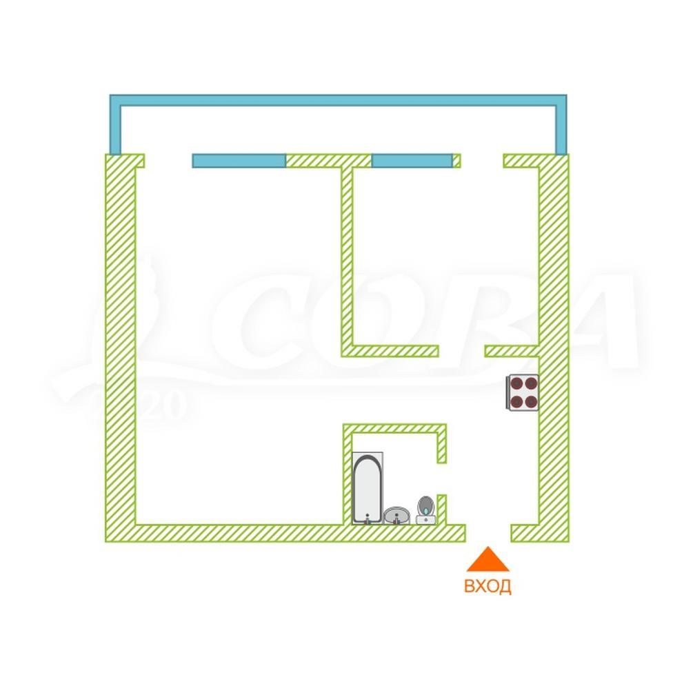 2 комнатная квартира  в районе Дом обороны (Бабарынка), ул. Бабарынка, 20А, г. Тюмень