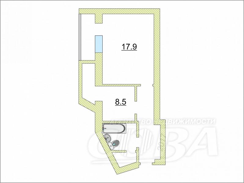 1 комнатная квартира  в районе центральная часть, ул. Мира, 15, п. Боровский
