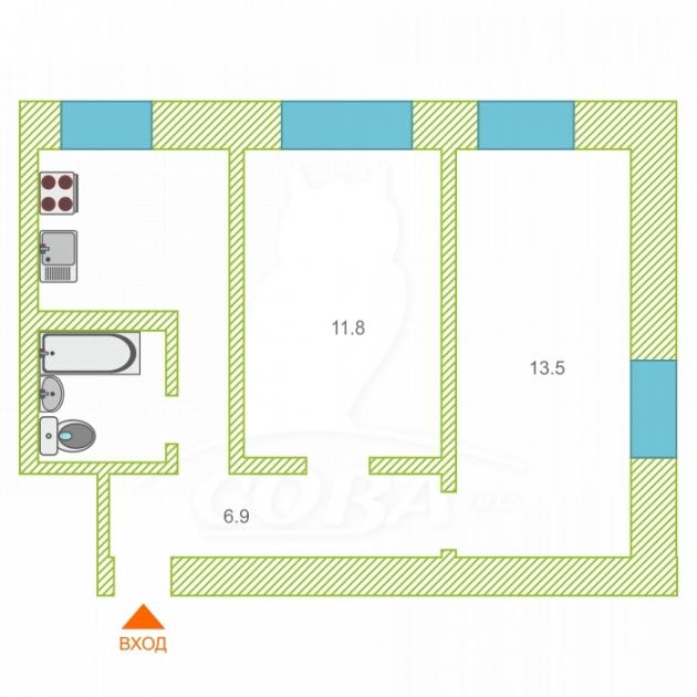 2 комнатная квартира  на КПД у ДК Строитель, ул. Текстильная, 13, г. Тюмень
